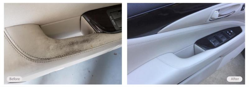 Dirty and worn out car door panel handle looking new again!