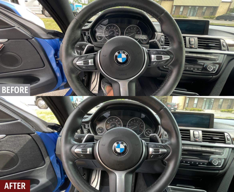 Restored BMW 435xi steering wheel