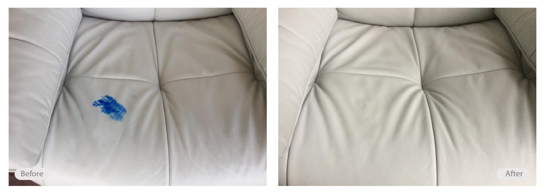 Ink marks on leather sofa removed