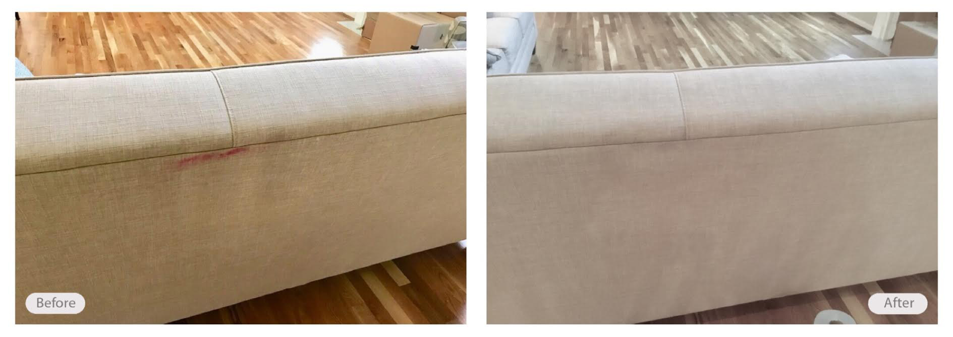 Upholstery spot cleaning on couch