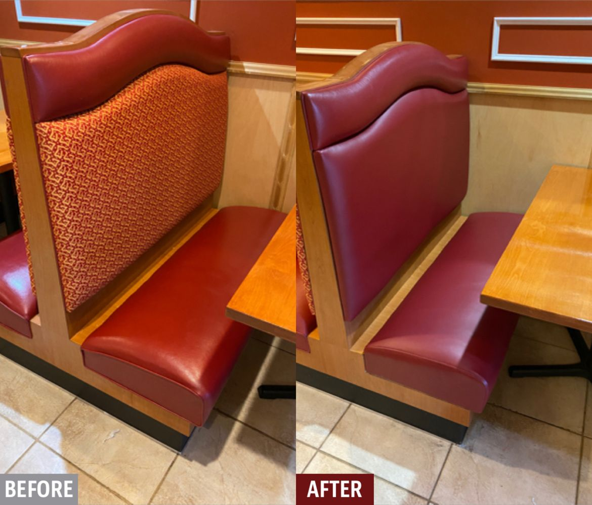 We reupholstered the vinyl booths in this restaurant due to cracking on the bases and the owner was having a hard time keeping the fabric backs clean.