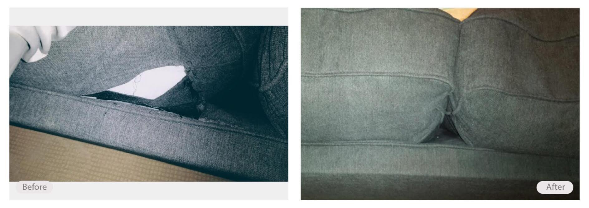 Ripped cushion seam repaired