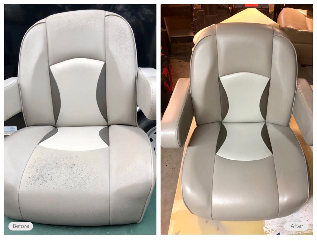 Boat seat repaired and re-dyed without having to replace