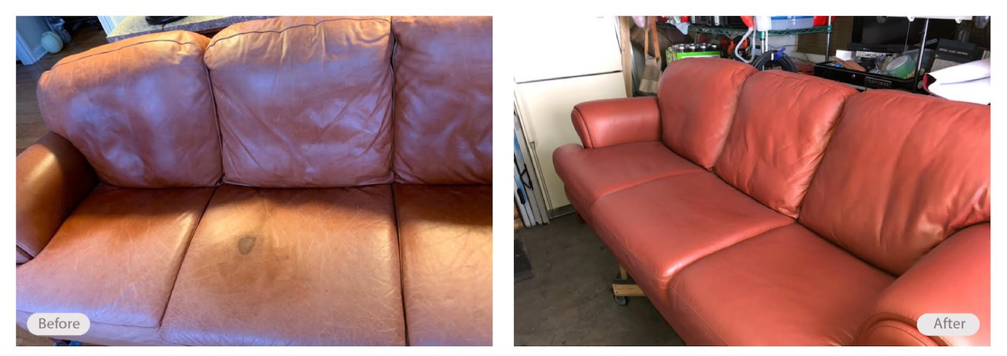 Clean and re-dye to this beautiful leather couch
