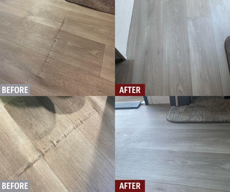2021 Keystone Crusier RV linoleum floor slide out repair.